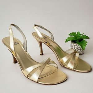 Stuart Weitzman Delovely Gold Strappy Pumps 9.5